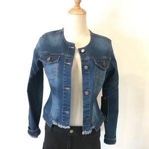 1822 Denim Jacket No Collar Axe Small NEW